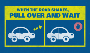 when earthquake occur stop the car